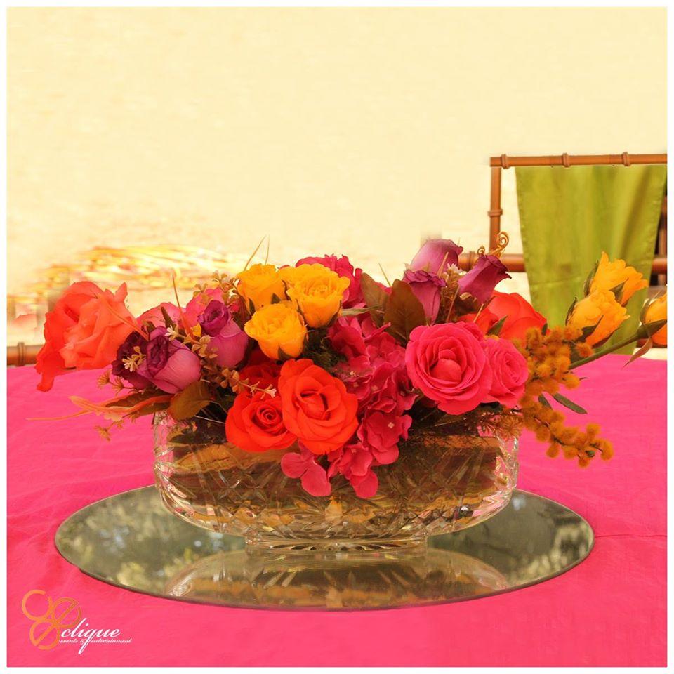 colourfull flower arrangement table decoration