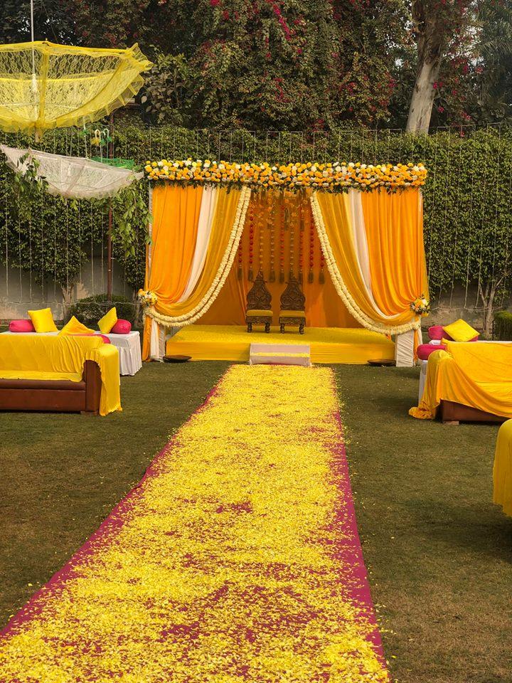 bold yellow wedding mandap theme