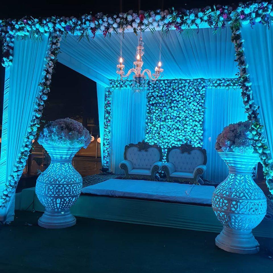 white flower decoration stage idea