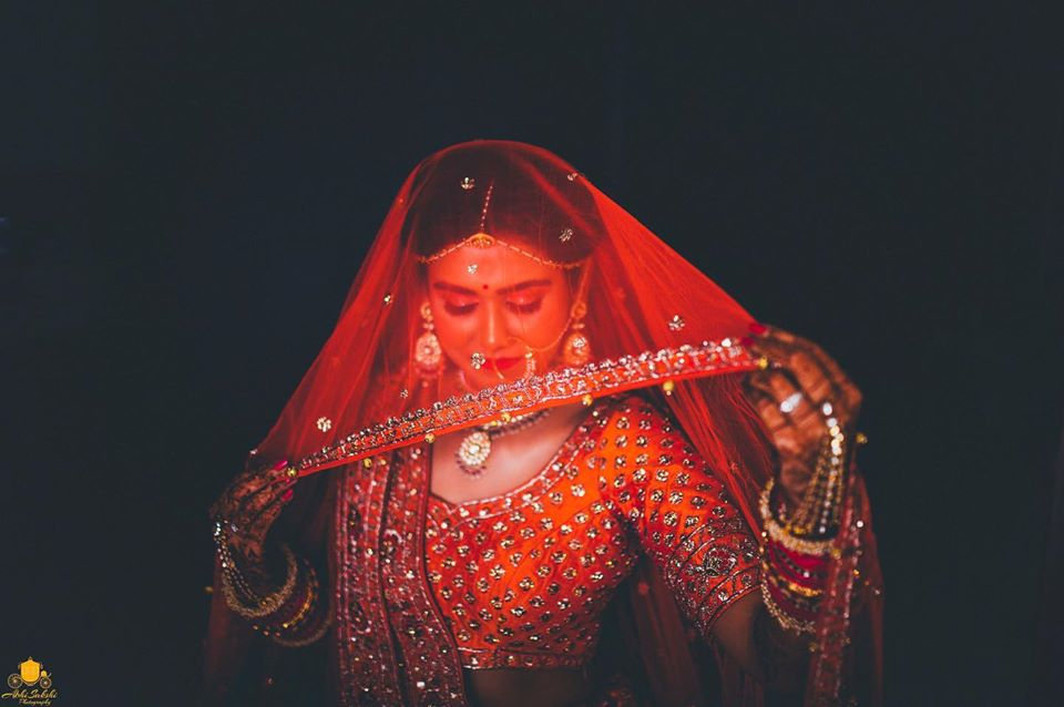 Bridal Portrait in Beautiful Indian Wedding Outfit