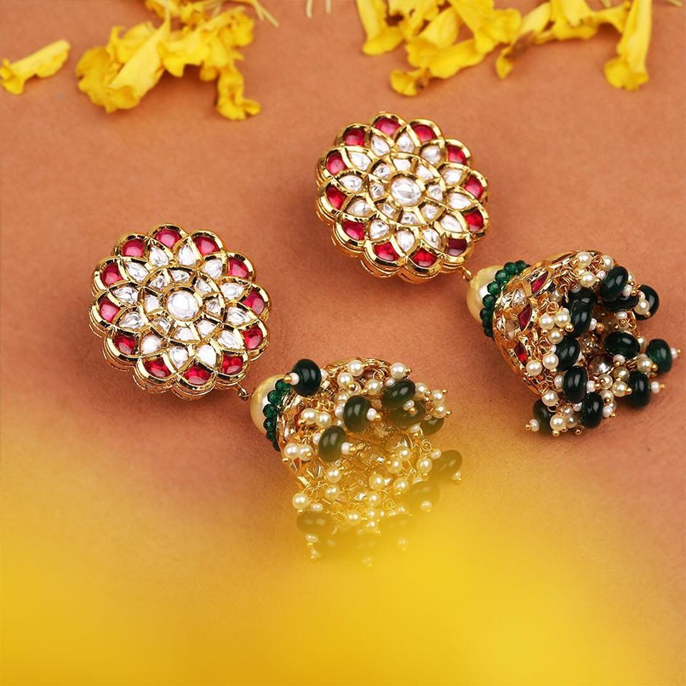 Kundan Jhumkis with Rubys, Green Beads & Pearls