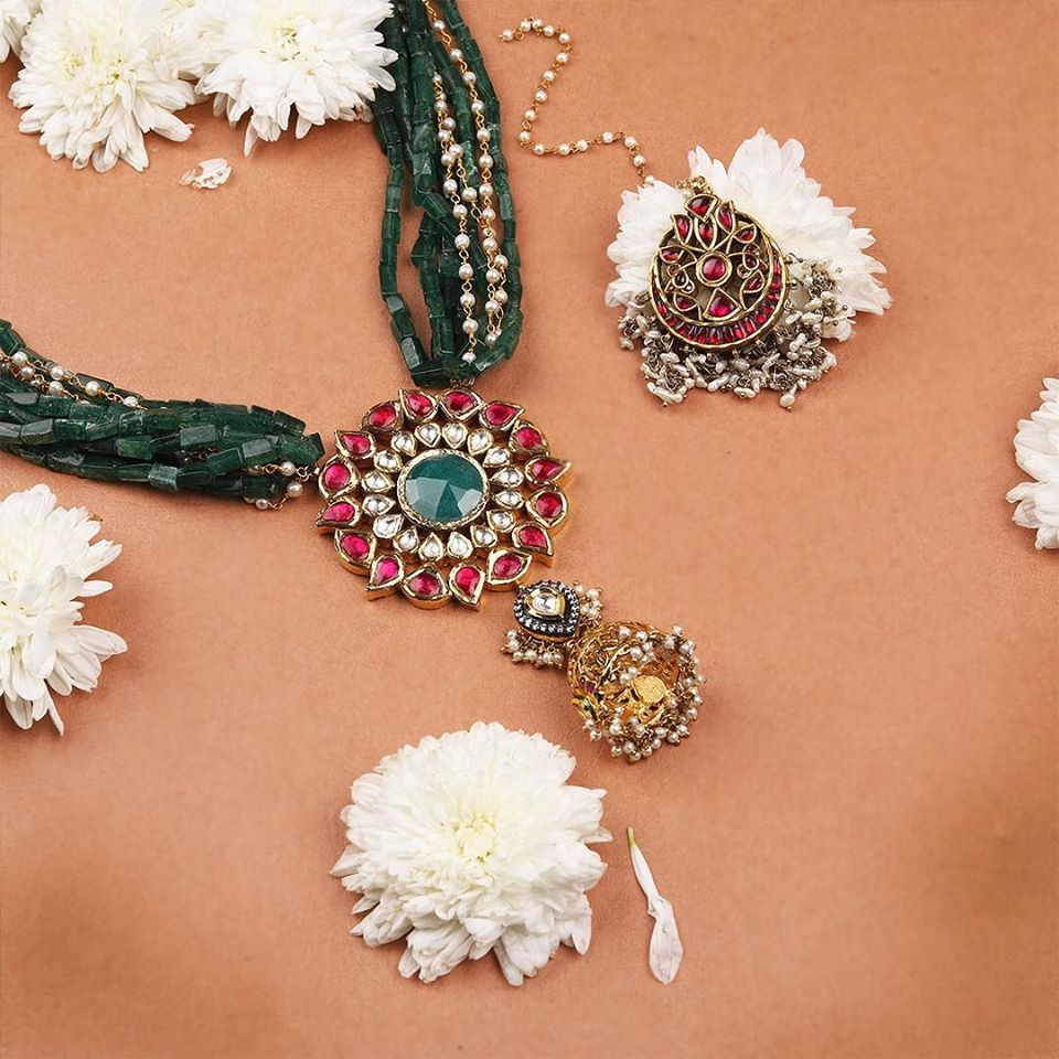 Red & Green Pirohi Work Pendant Set with Earrings