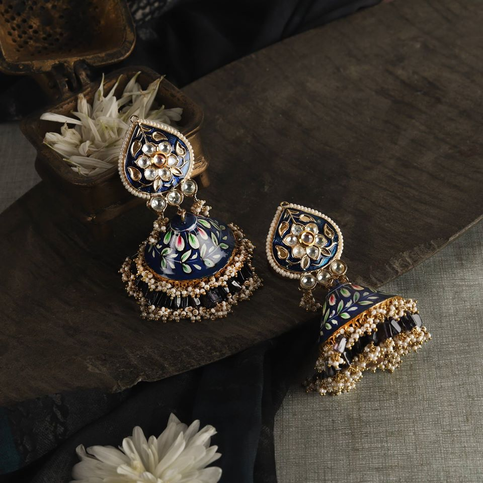 Beautiful Blue Meenakari Earrings