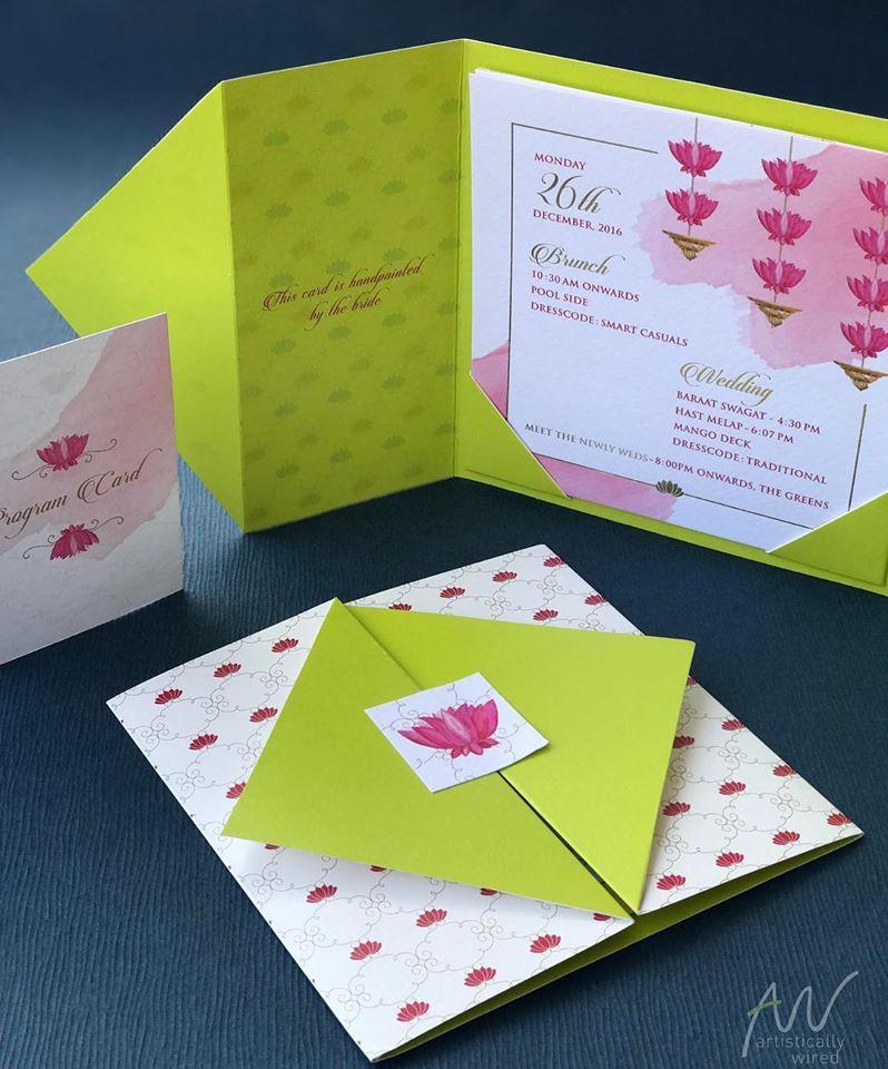 Bright Green & Pink Lotus Theme Wedding Card Design