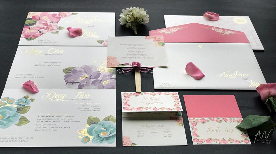 Floral Printed Pastel Colored Gold Foiled Wedding Invitation