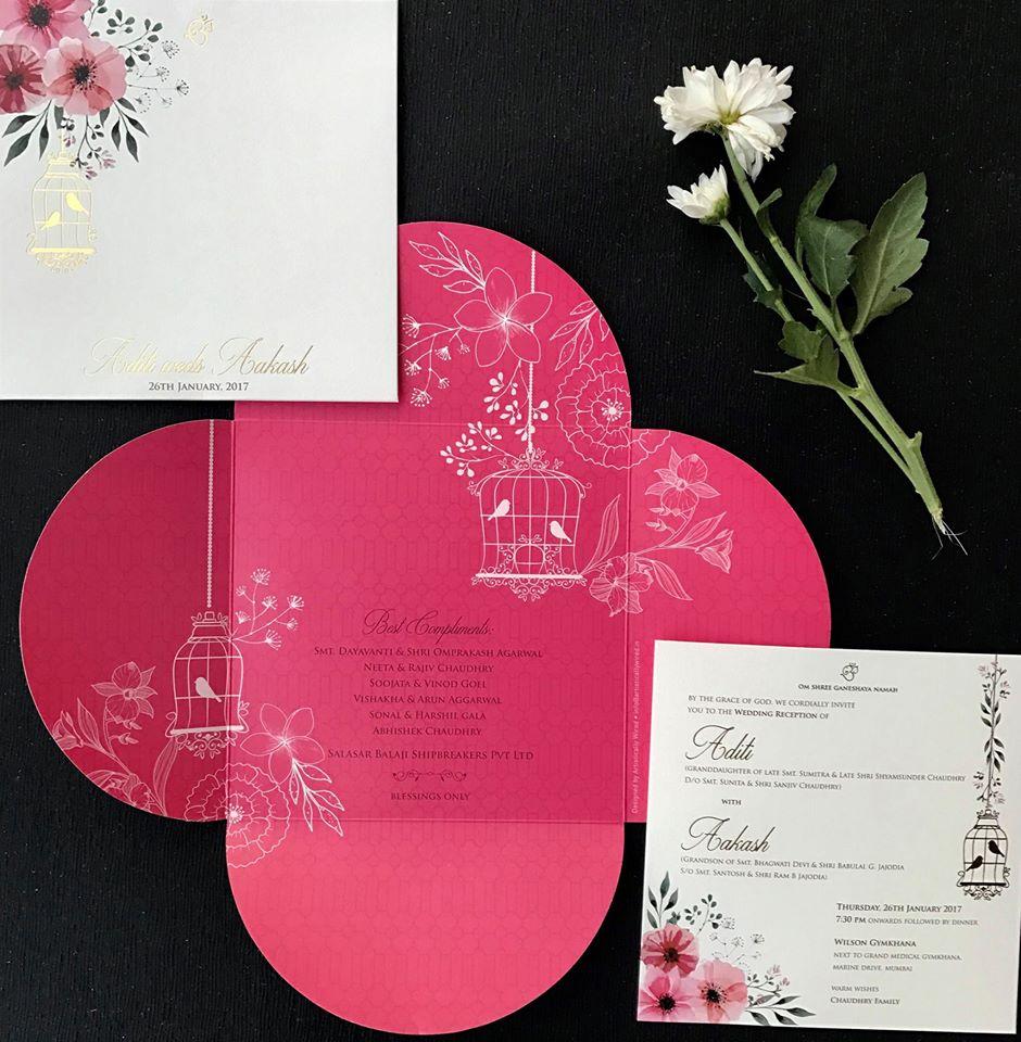Pink & White Cut Work Wedding Invite