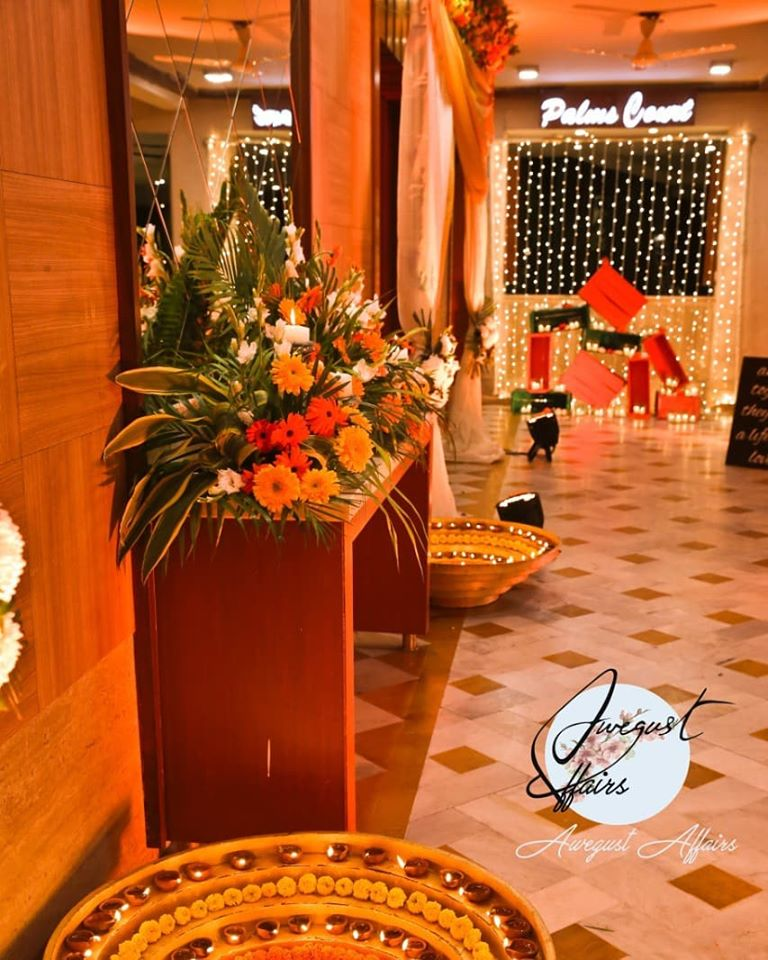 Colorful Floral and  Lighted Indoor Mehendi Ceremony Decor