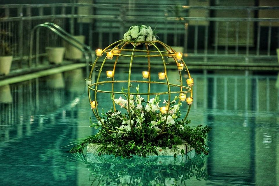 Floating Floral Cage with Tea Lights Cocktail Decor