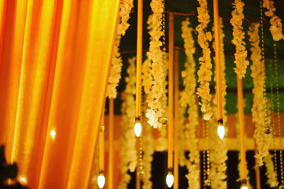 Floral Strings, LED Hangings and Crystal Hangings Ceiling Decor Idea