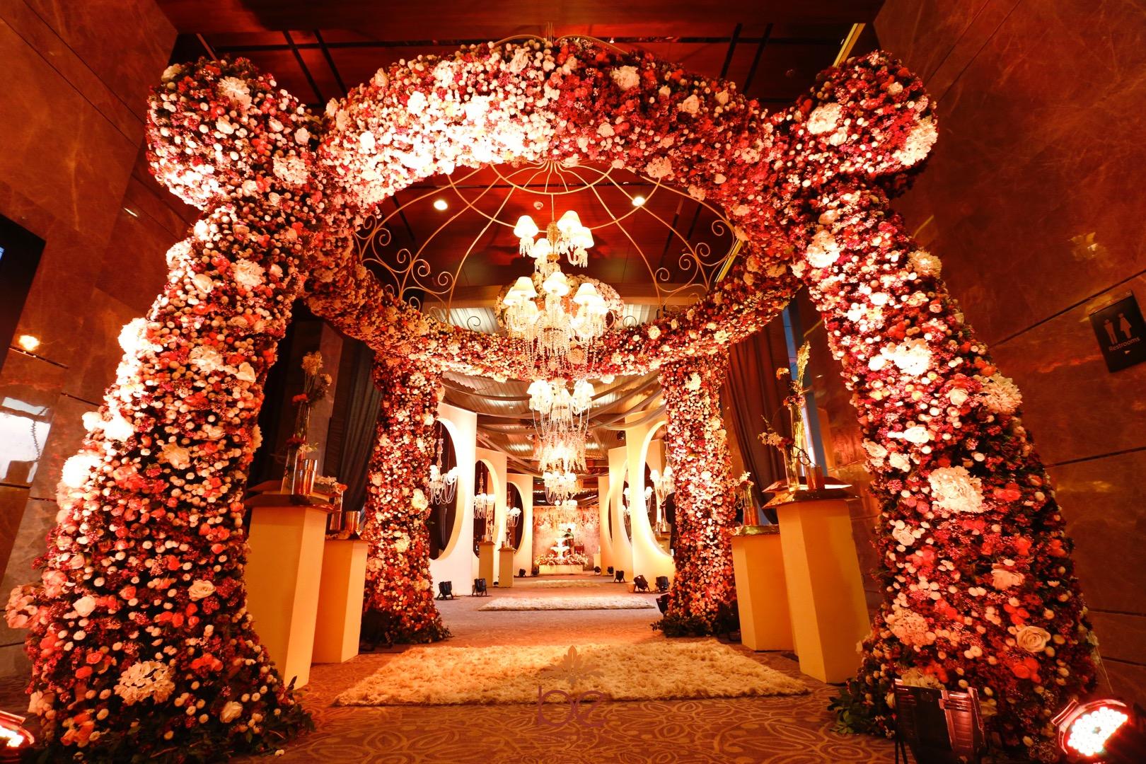 Huge Floral Entrance with Big Chandelier in Middle