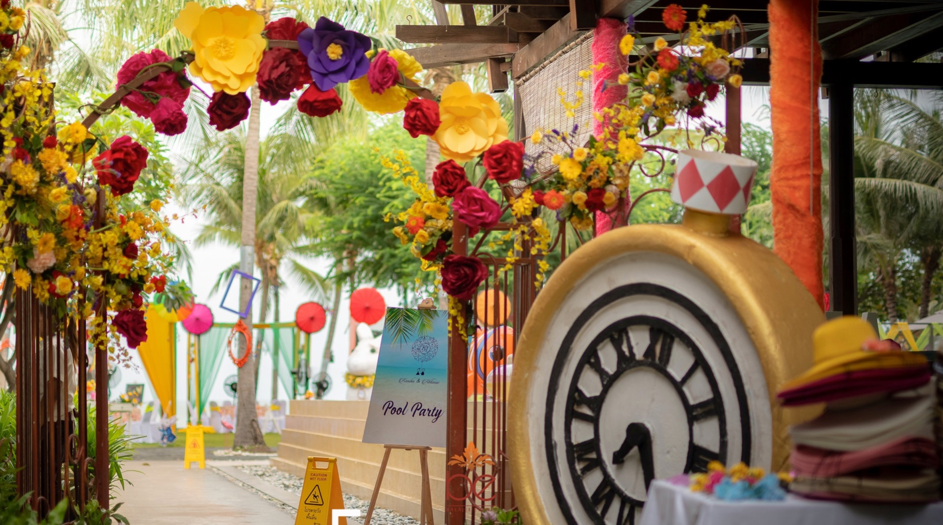 Floral Pool Party Entrance Decor with Big Paper Flowers