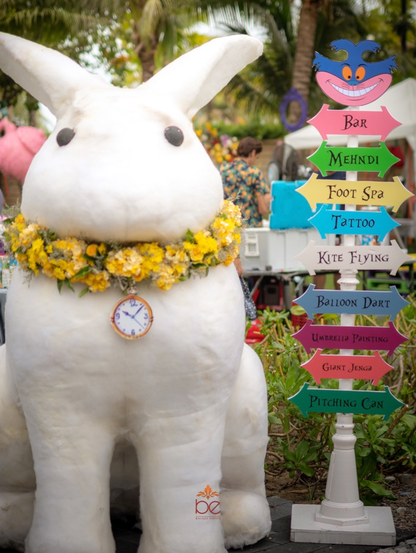 Pool Party Signage with Big Rabbit Installation