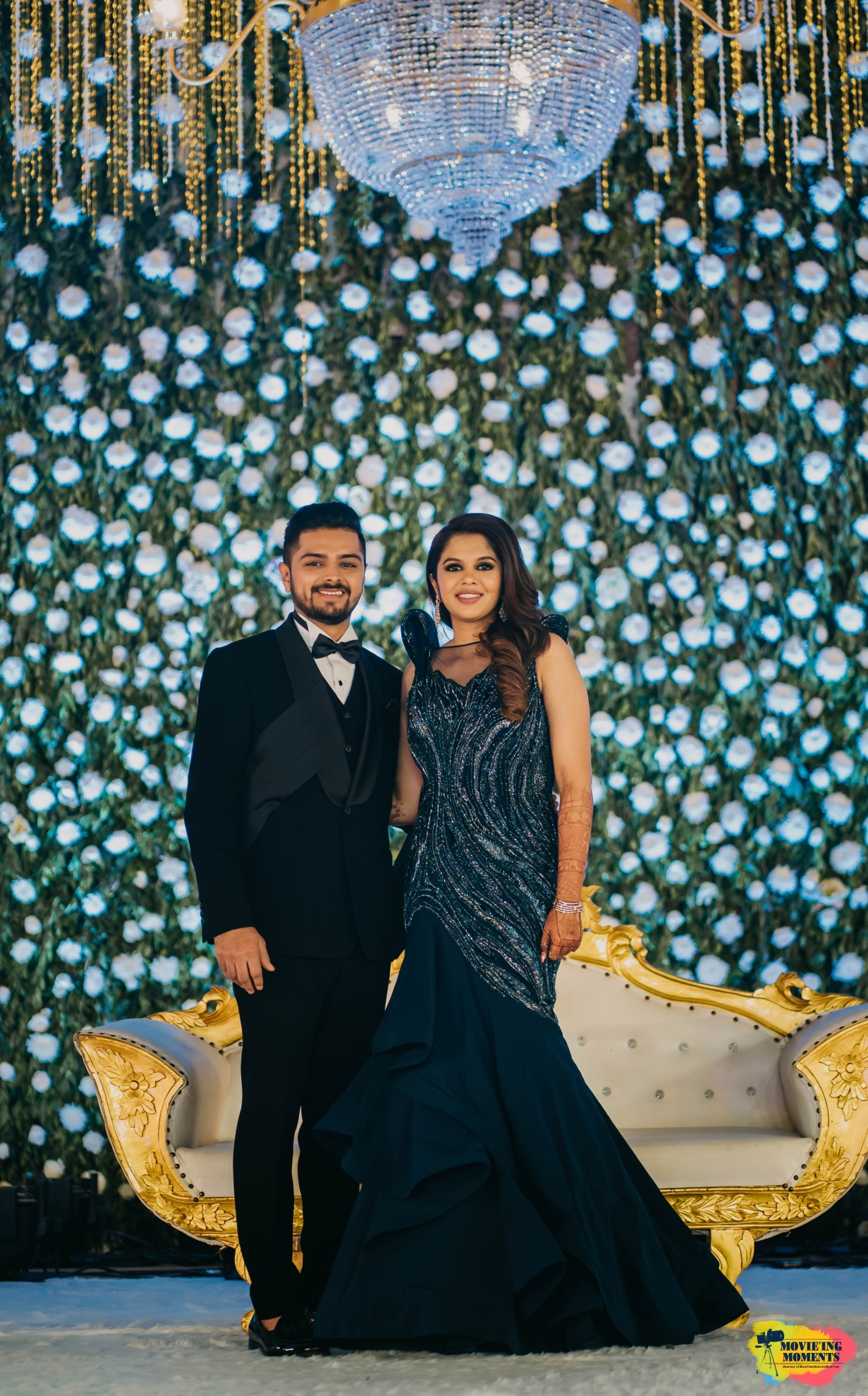 Bride and groom reception outfits
