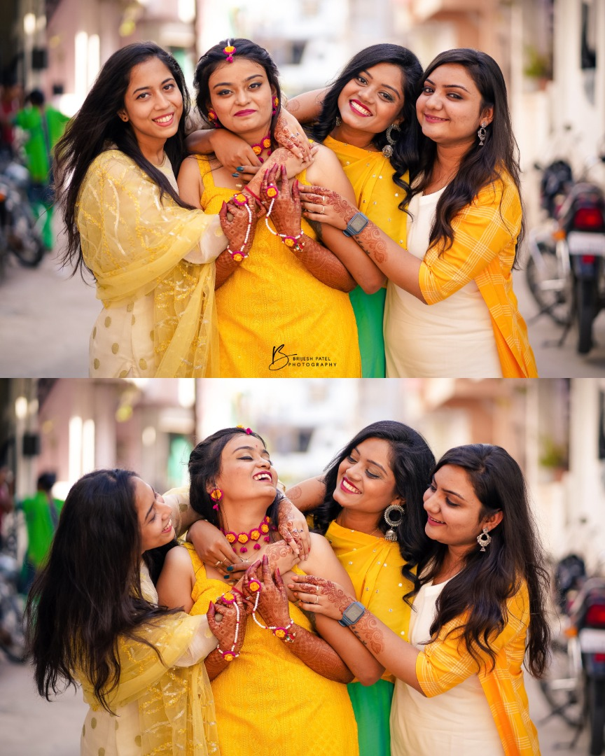 Bride & Bridesmaids in Yellow Theme Haldi Ceremony