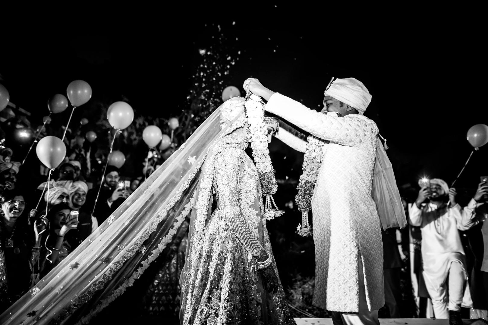 Stunning Black and White Wedding Portrait