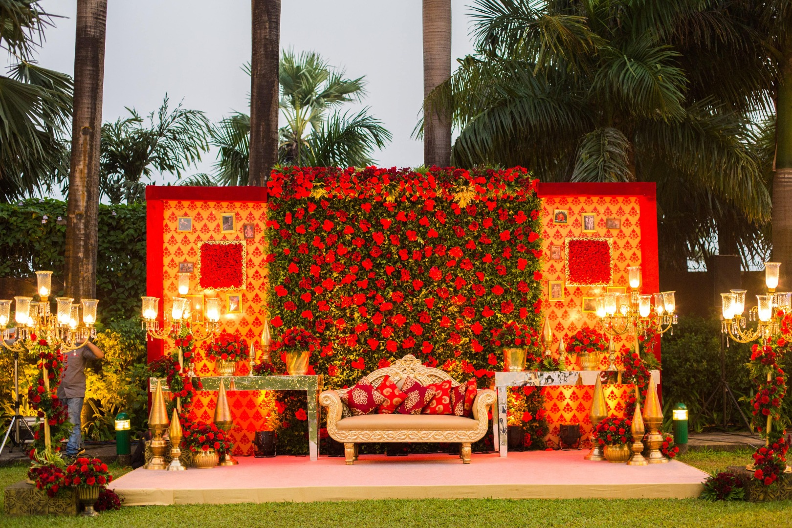 Red and Yellow Wedding Stage Decor