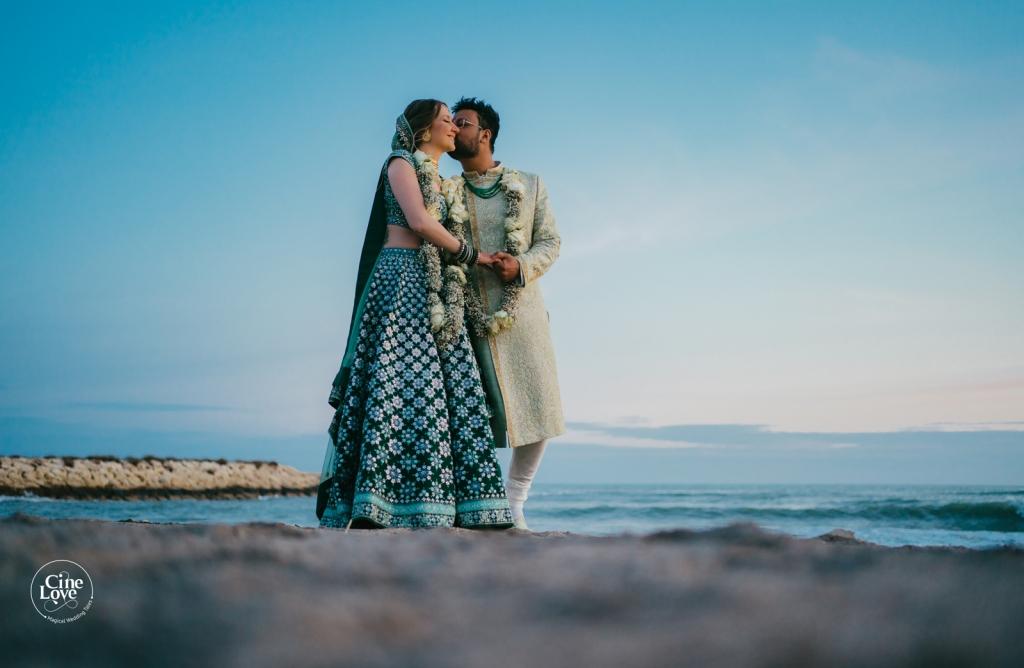 Beautiful Bride & Groom Seaside Post Wedding Picture