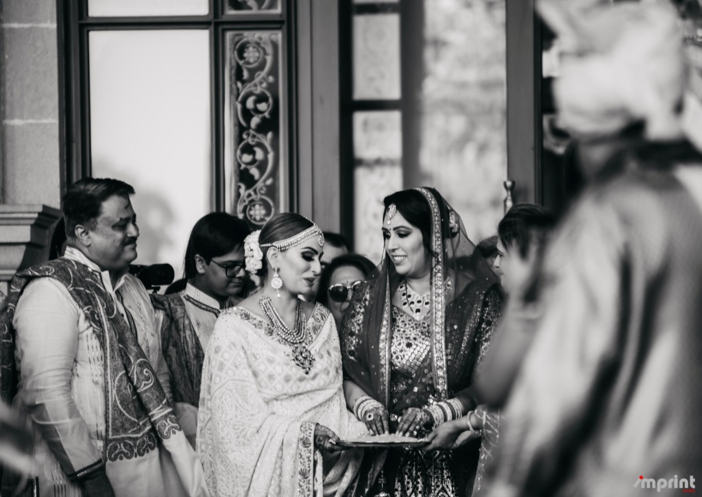 Black & White Picture of Indian Bride with Parents