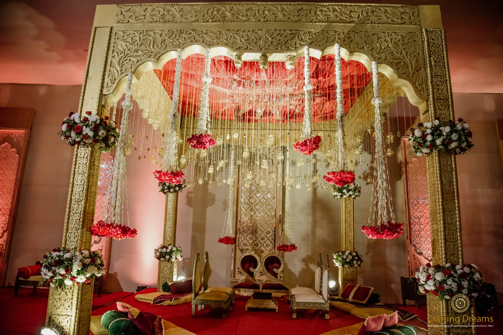Red & Gold Traditional Mandap Decor