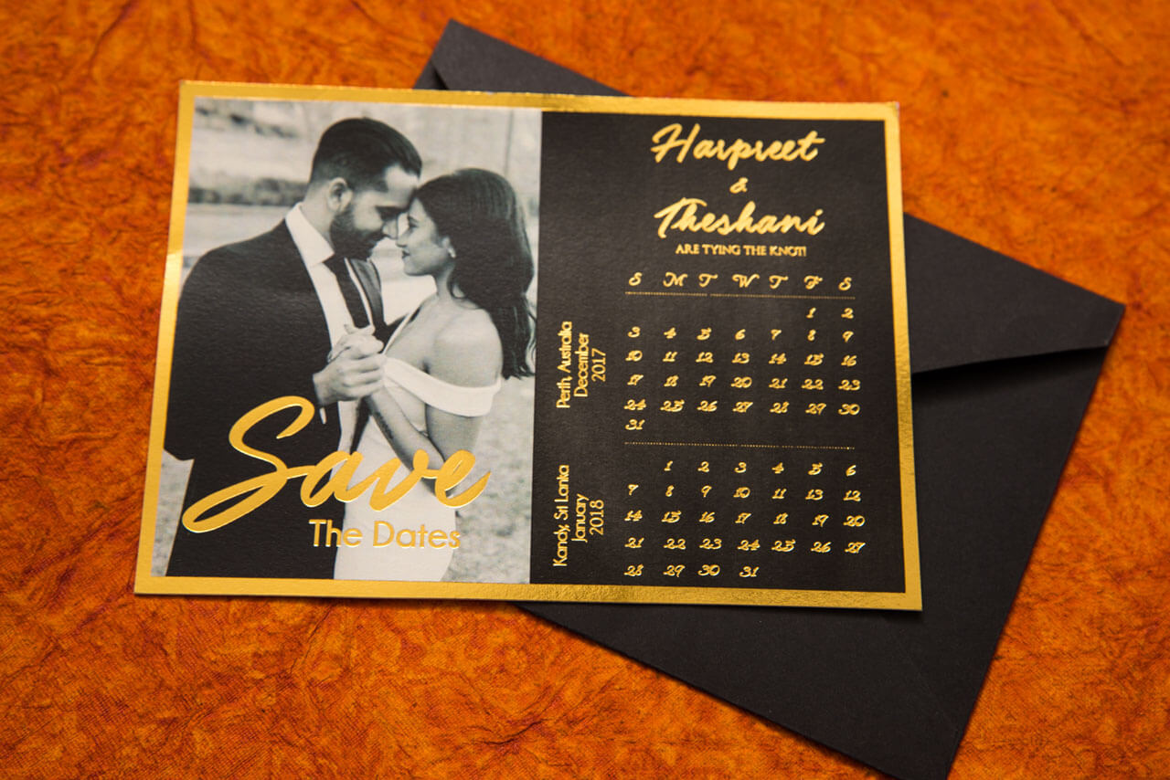 Black & Gold Save The Date Card