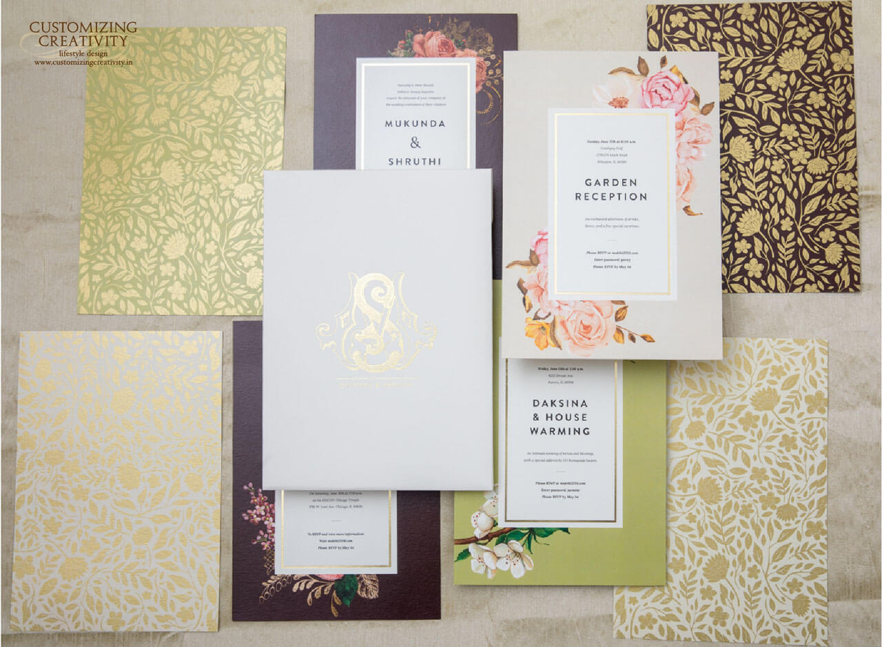 Gold Foil Printed Wedding Invitation Card Designs