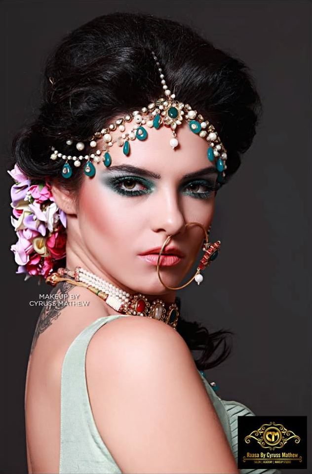 Dramatic Green Eye Makeup & Bridal Hairstyle