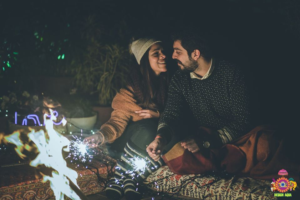 Happy Couple Campfire Pre-Wedding Photoshoot