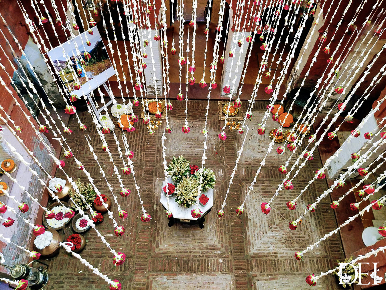 Cascading Rajnigandha and Rose Strings Floral Ceiling Decor