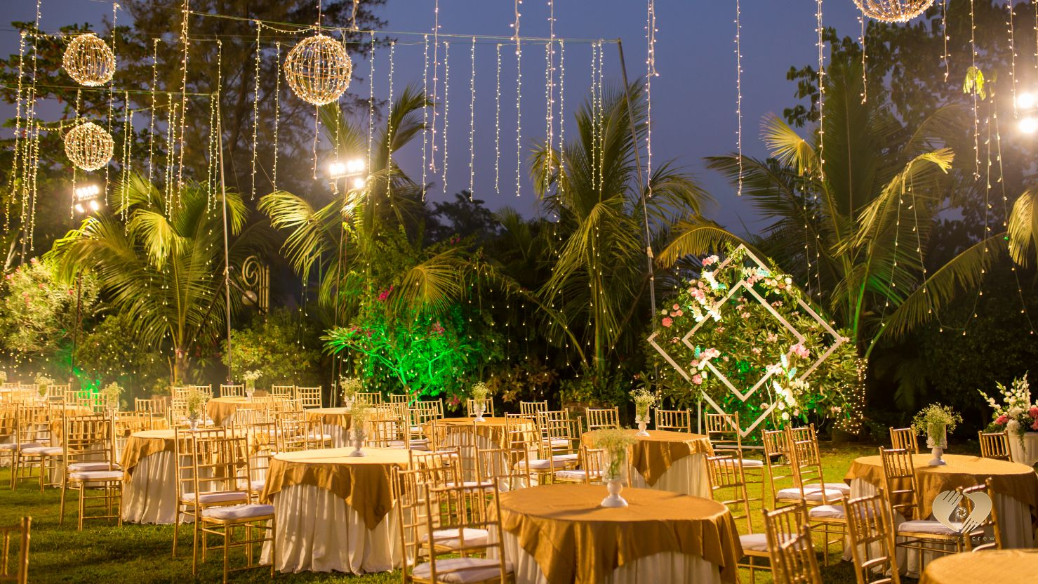 Fairy Lights & Flowers Outdoor Seating Decor