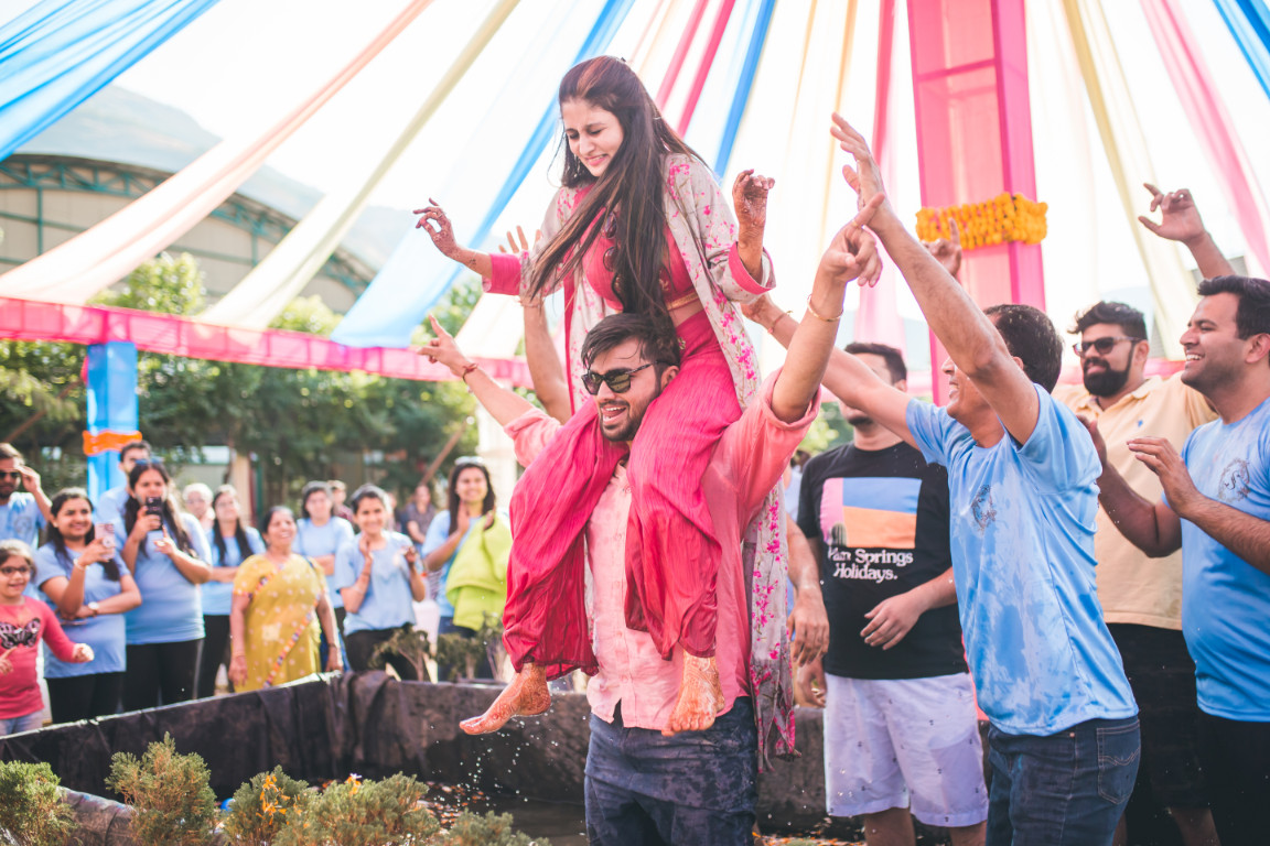 Funny Bride & Groom Holi Party Picture