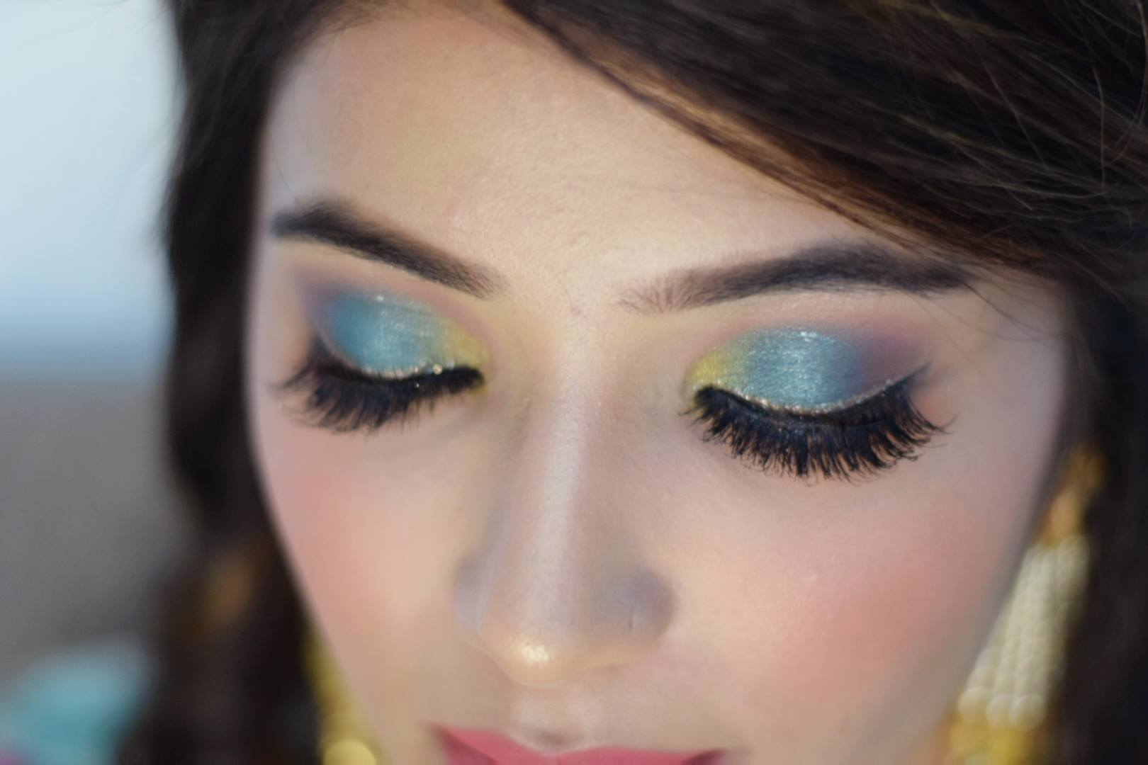 Blue Shimmery Eye Makeup with False eye Lashes