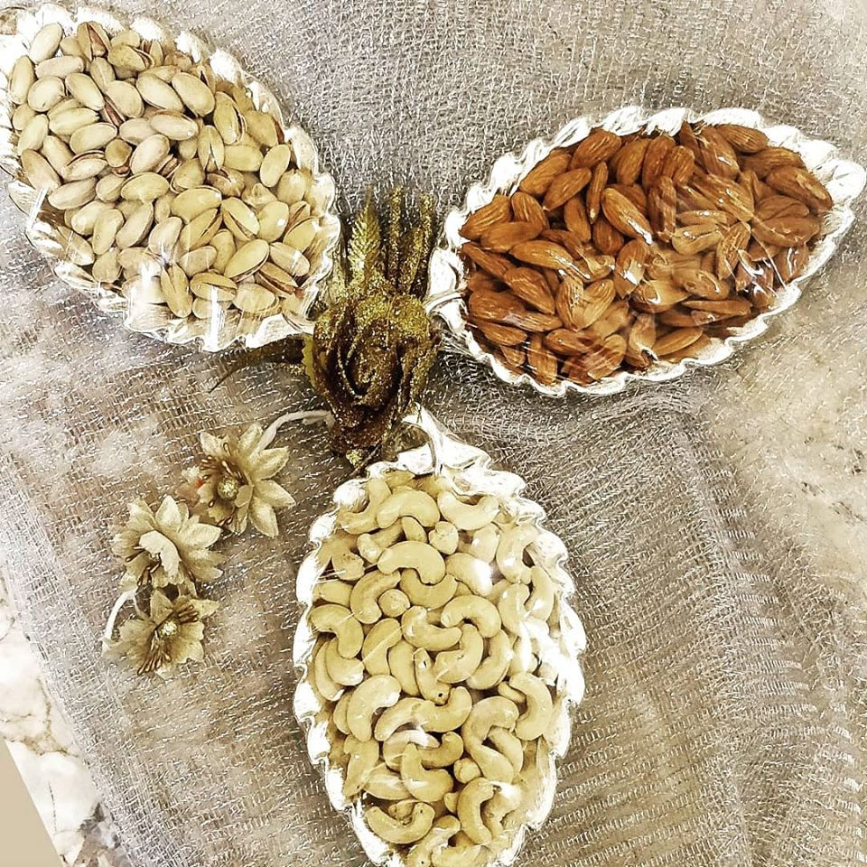 Gold & Silver Dry Fruits Packaging for Wedding Favors