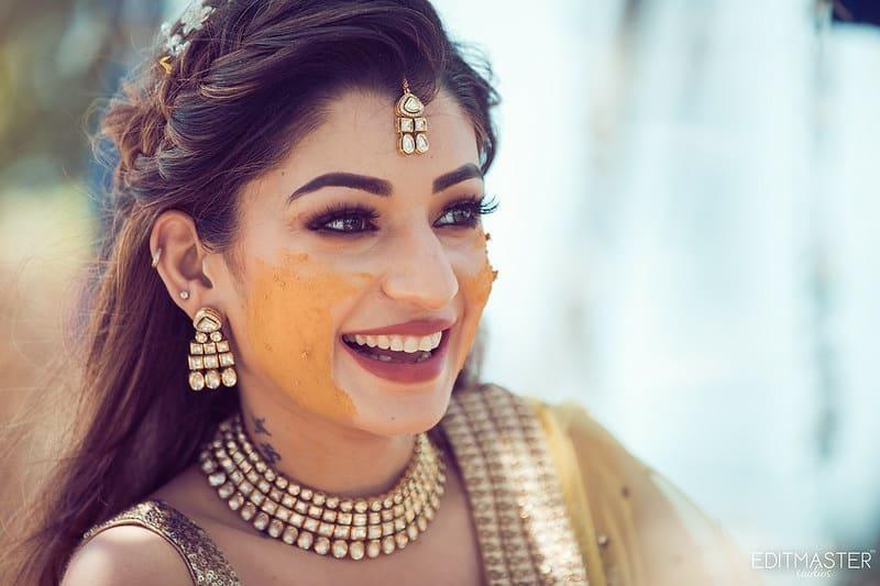 Beautiful Smiling Bride in Haldi Ceremony