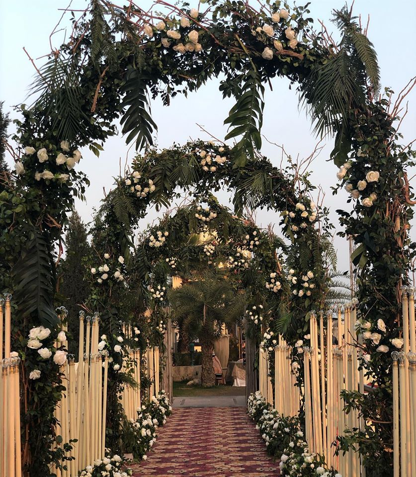 entrance decoration with flower and grass