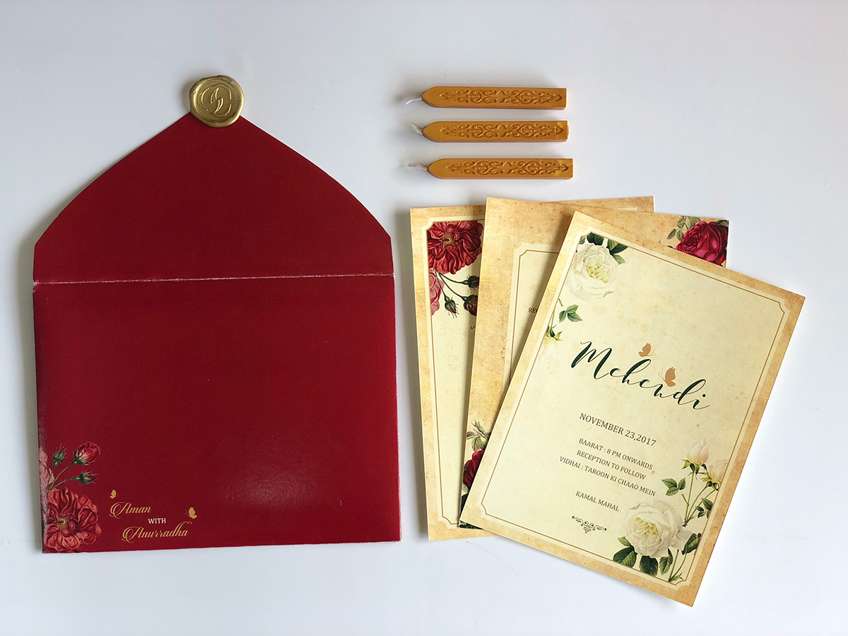 Classic Burgundy & Cream Color Vintage Theme Wedding Invitation Card
