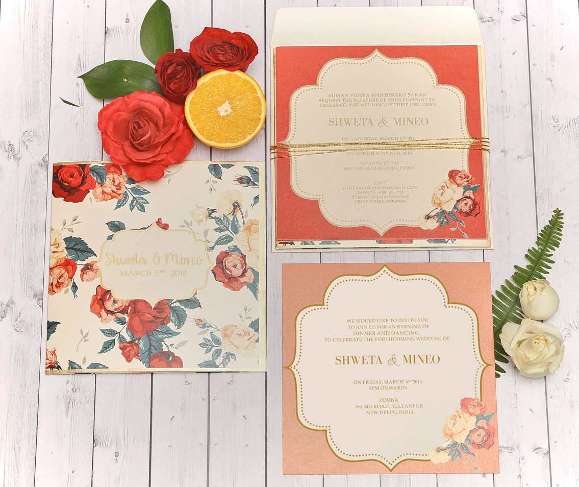 Elegant Red & Pink Floral Printed Wedding Invitation Card