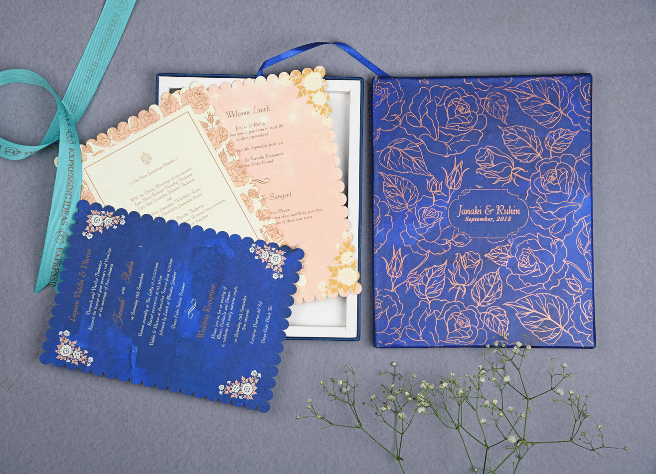 Royal Blue Gold Floral Printed Boxed Wedding Invitation