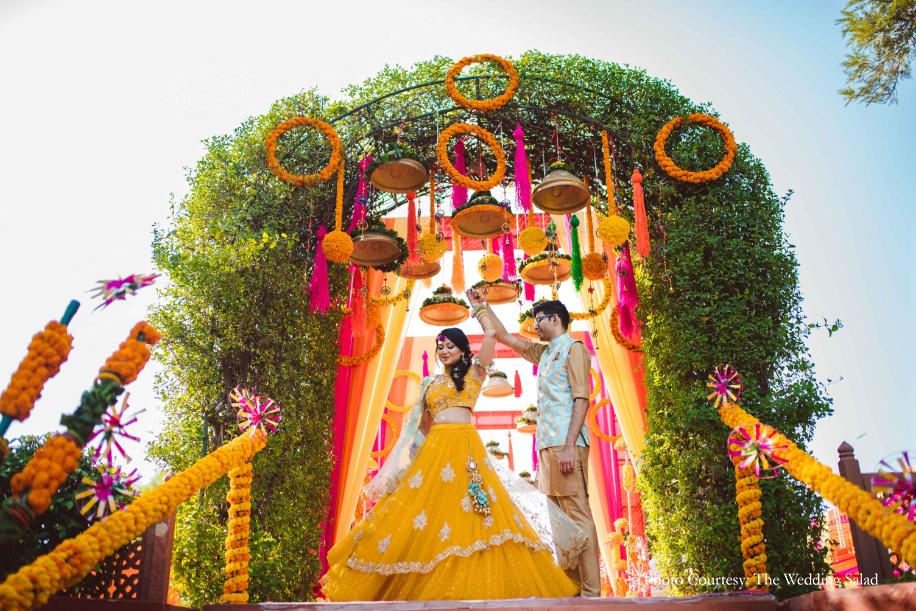 Foliage, Marigol and Pinwheel Beautiful Mehendi Ceremony Decor