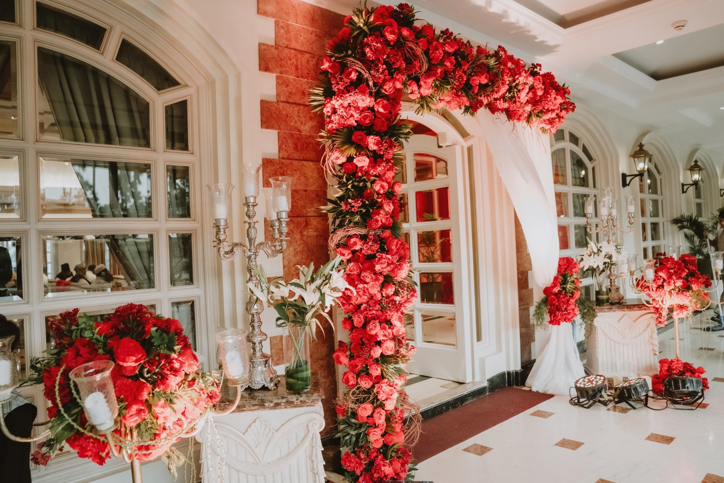 Floral decorations for wedding reception