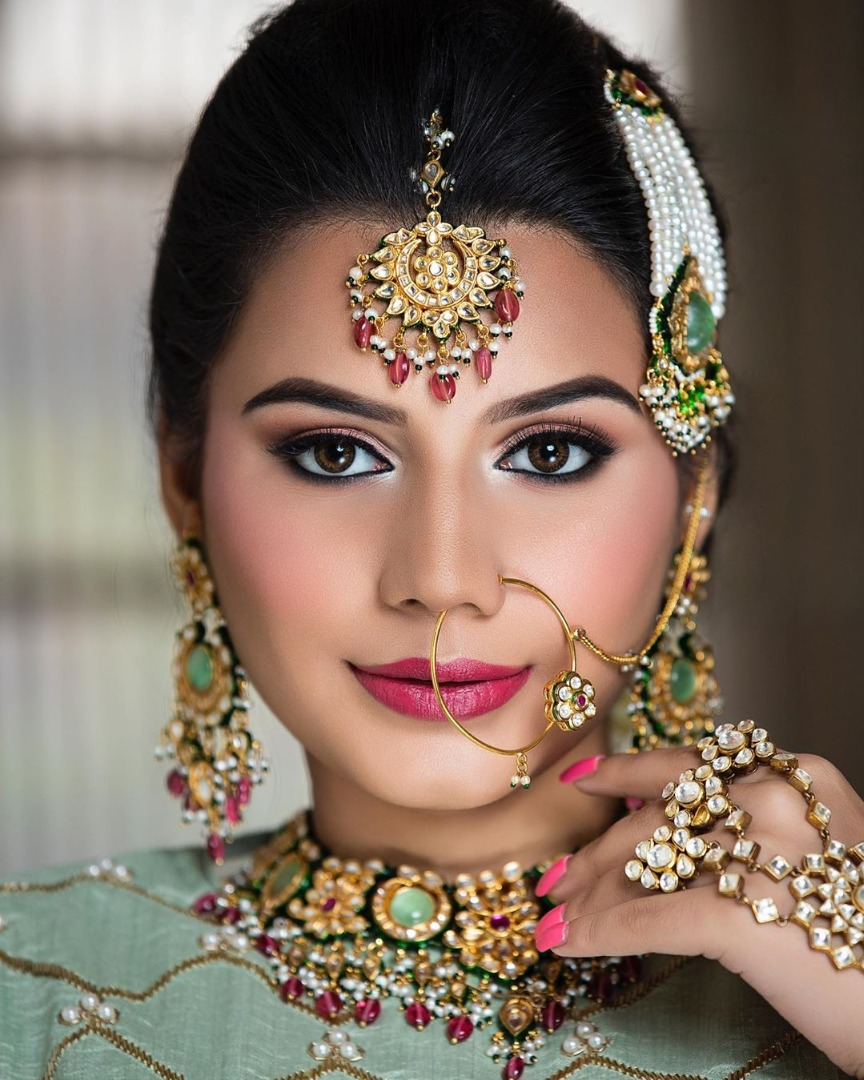 Beautiful eye makeup of Indian Bride