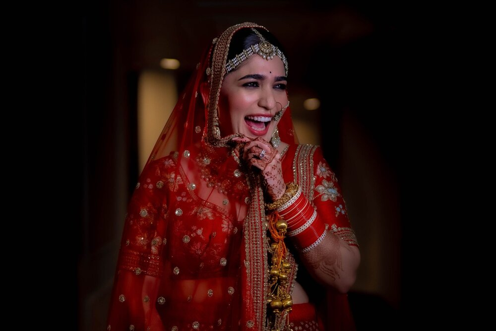 Laughing Bride Picture In Beautiful Red Indian Bridal Wedding Outfit