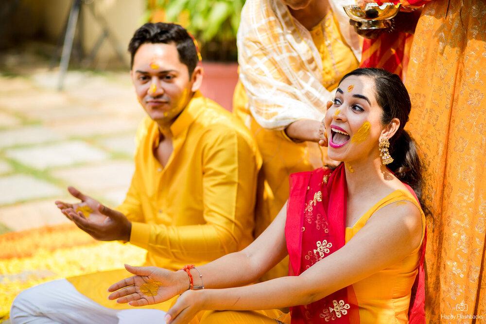 Yellow Theme Bride & Groom Haldi Ceremony Picture