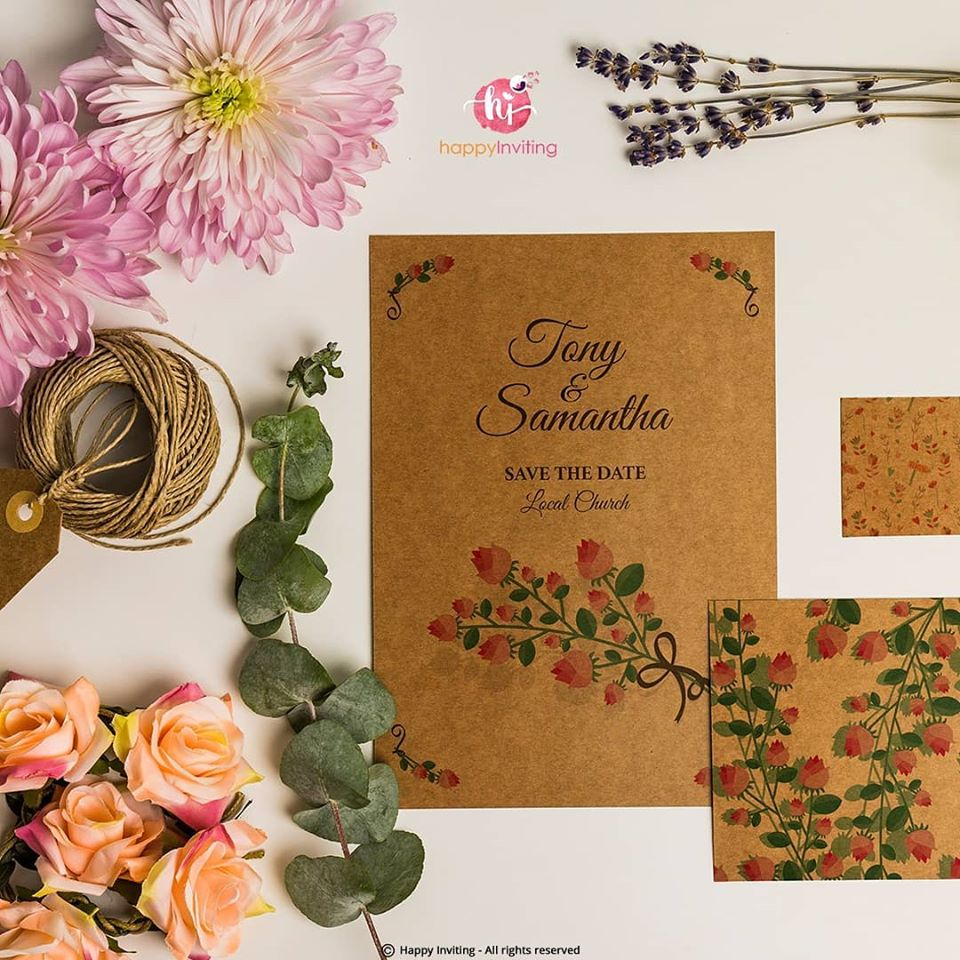Brown Color Save The Date Card