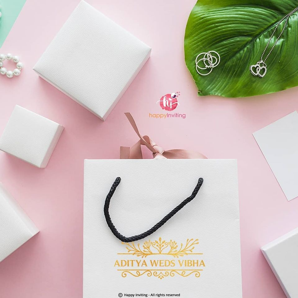 White Gifting Bag with Customized Couple Logo