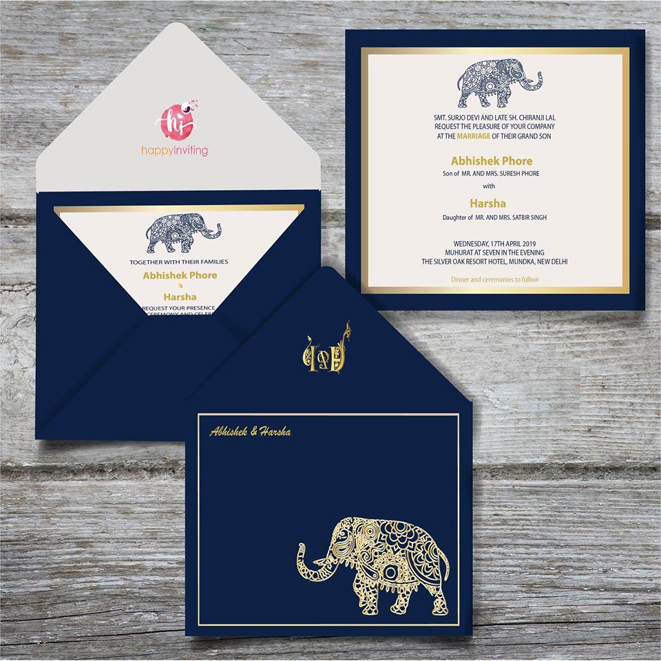 Royal Blue & White Wedding Card