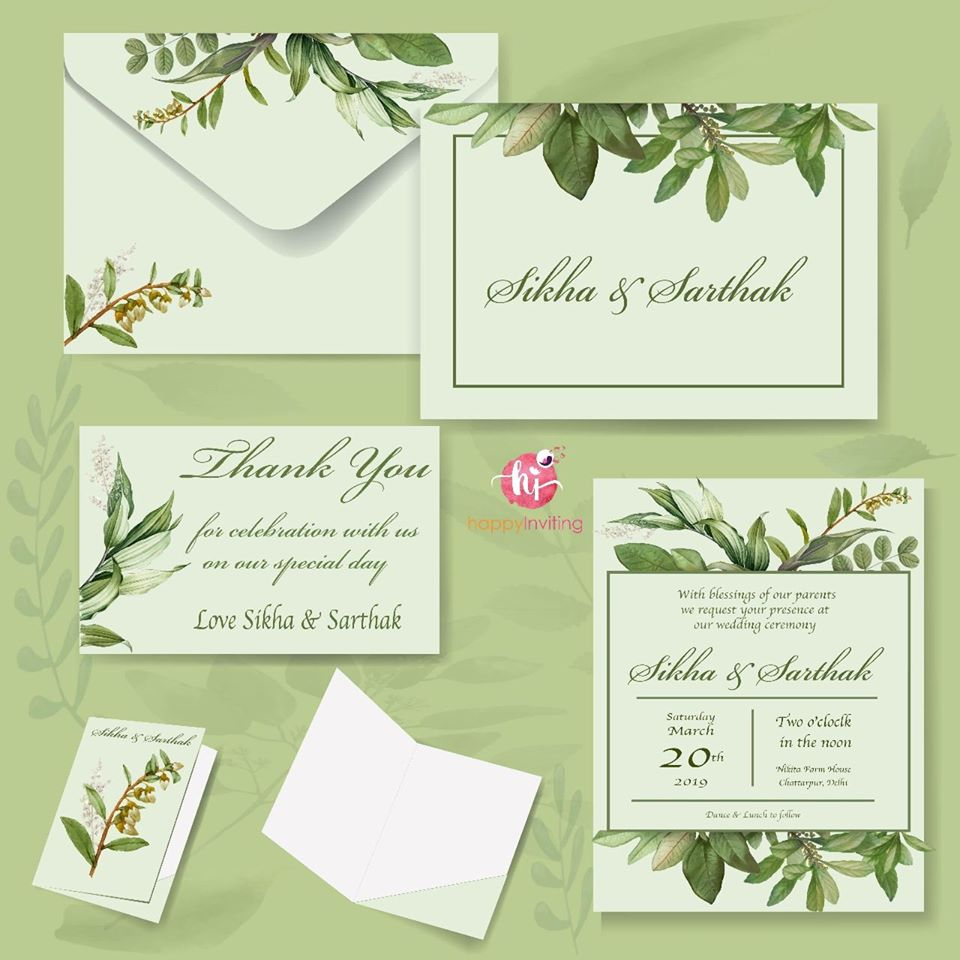 Botanical Theme Green & White Wedding Invitation Card