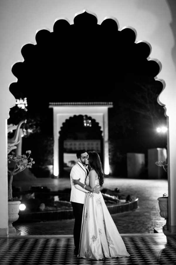 Black & White Beautiful Romantic Couple Shot while Their Pre Wedding Party
