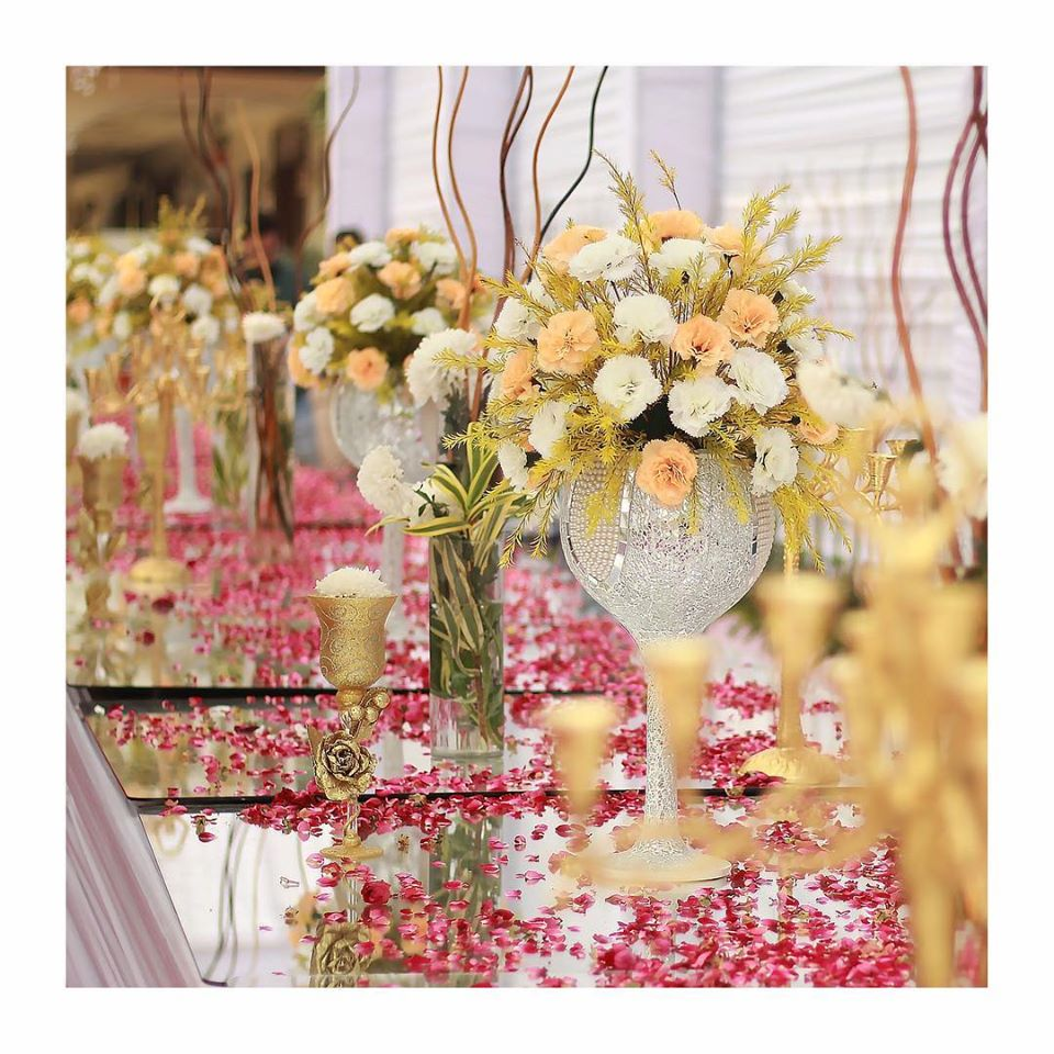 Dreamy Floral Tablescape in Mirror Work Vases