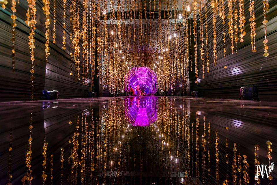 Grand Sangeet Ceremony Entrance Decor with Casacading Crystal Hangings