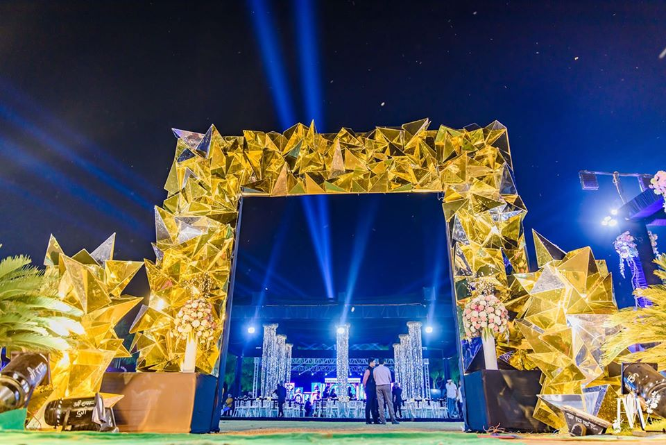 Grand Yellow Crystals Sangeet Ceremony Entrance Decor